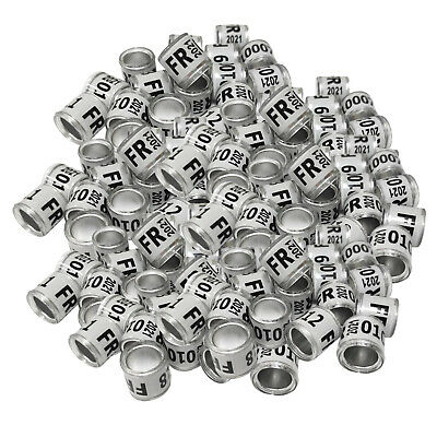 £4.99 • Buy 100Pieces 2021 Aluminium Racing Pigeon Leg Rings Bands 8mm For Finch Canary