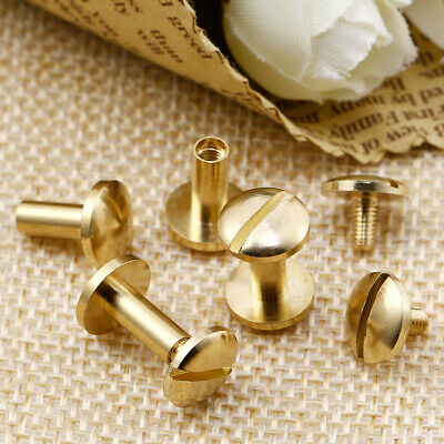£8.99 • Buy 20 PC Belt Screw Brass Solid Rivets Stud Head Leather Craft Chicago Nail Wallet