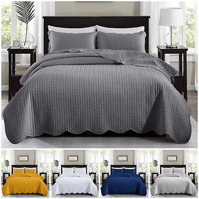 £31.99 • Buy 3 Piece Embossed Quilted Bedspread Bed Throw Comforter Single Double King Size