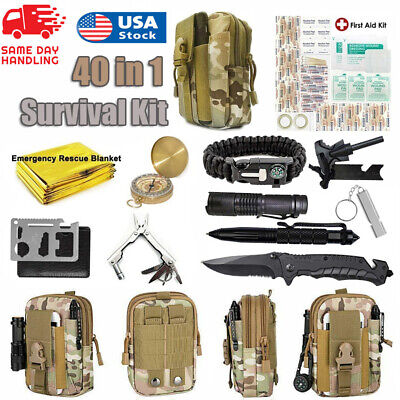 $32.99 • Buy 40 In 1 Emergency Survival Kit Outdoor Camping Military Tactical Gear Backpack