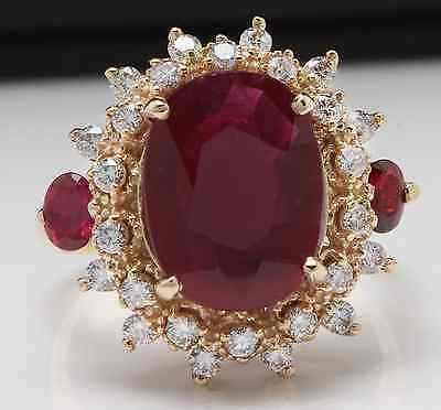 £908.57 • Buy 6.00 Carats Natural Red Ruby And Diamond 14K Solid Yellow Gold Ring
