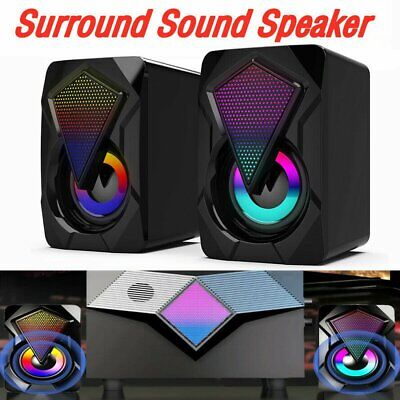 £9.89 • Buy Surround Sound System LED PC Speakers Gaming Bass USB Wired For Desktop Computer