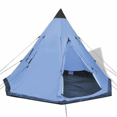 £58.99 • Buy VidaXL 4-Person Tent W/ 2 Windows Blue Camping Hiking Tipi Outdoor Family Trip