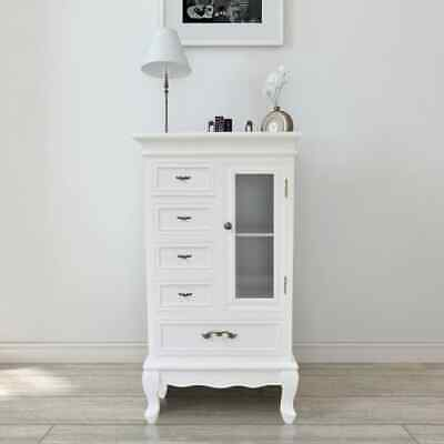 £142.99 • Buy VidaXL Cabinet With 5 Drawers 2 Shelves White Glass Door For Storage Unit