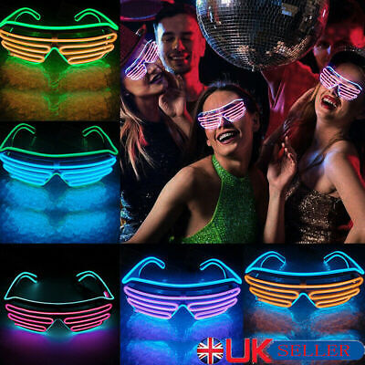 £4.99 • Buy Neon LED Light Up Shutter EL Wire Glasses Glow Frame Dance Party Nightclub NEW