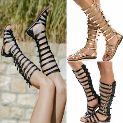Womens Flat Knee High Cut Out Gladiator Ladies Sandals Strappy Summer Shoes Size • 7.99£
