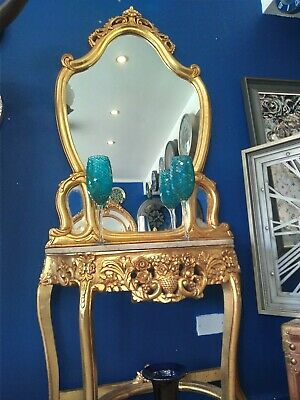 £450 • Buy Gold French Regency Cream Marble Console Table Mirror Gilded 7ft