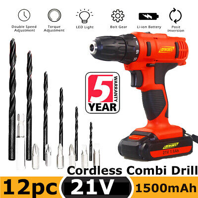 Cordless Drills Driver Power Tool Kit Rechargeable 12Pcs Bits LED Light&Charger • 25.90£
