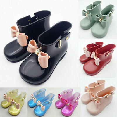 £7.68 • Buy Infant Baby Kids Girls Princess Bow Non-Slip Wellington Welly Boots Rain Shoes