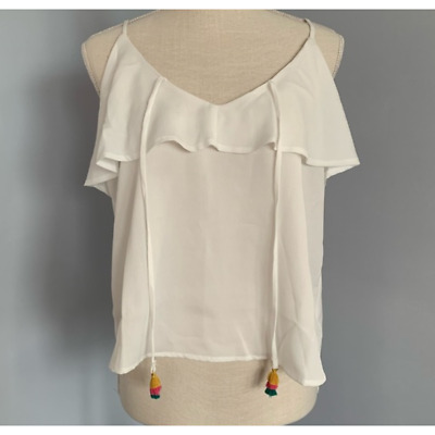 AU12.99 • Buy One Clothing White Colorful Tassel Tank Top