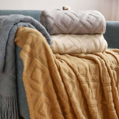 £18.99 • Buy Nordic Chunky Knitted Thick Blankets Knit Plaid Throw Sofa Bed Tassel Blanket