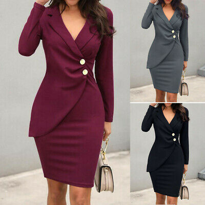AU28.44 • Buy Elegant Women V-Neck Long Sleeve Buttons Bodycon Formal Party Office Dress