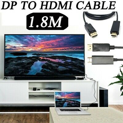 1.8m Display Port DP Male To HDMI Cable Adapter 1080P Laptop PC HD TV Converter • 2.99£