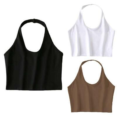 £3.18 • Buy Womens Halter Neck Sleeveless Crop Top Sexy Low Cut O-Neck Backless Cami Vest