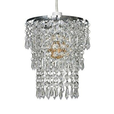 £14.99 • Buy Chrome 3 Tier Easy Fit Pendant Shade Ceiling Light Acrylic Jewels Droplet Light