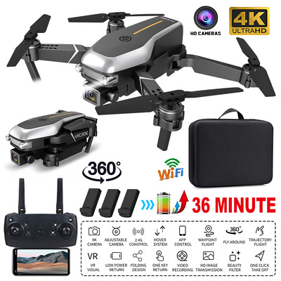 4K HD Dual Camera Drone Wifi GPS RC Quadcopter 360° FPV Selfie Video*3 Batteries • 39.99£