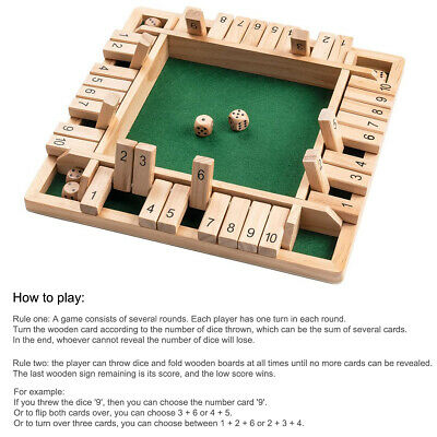 £9.23 • Buy Wooden 4 Players Shut The Box Dice Game Tabletop Family Games Learn Number Fun
