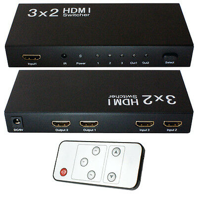 £69.99 • Buy 3x2 HDMI Switch & Splitter Box -Full HD Input/Output Selector- IR Remote Control
