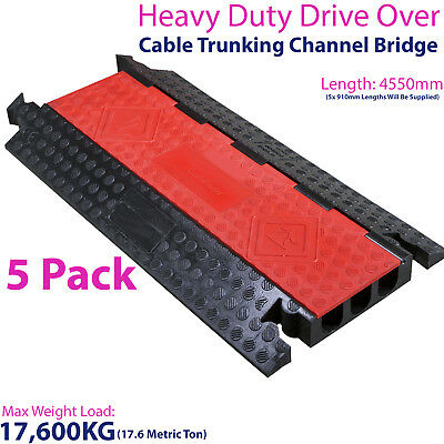 £1249.99 • Buy 5x 17,600KG 3 Channel Drive Over Cable Protector-Outdoor Trunking Bridge Ducting