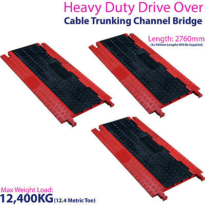 £449.99 • Buy 3x 12,400KG 3 Channel Drive Over Cable Protector-Outdoor Trunking Bridge Ducting