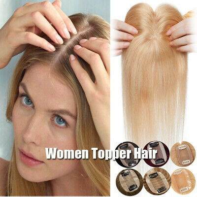 £54.95 • Buy Women Topper Real Human Hair Extension Clip In Top Silk Base Toupee Hairpiece UK
