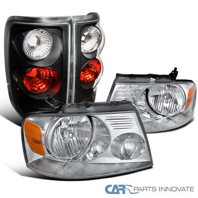 $154.24 • Buy Fit 04-08 Ford F150 F-150 Clear Lens Headlights+Black Tail Lights Brake Lamps