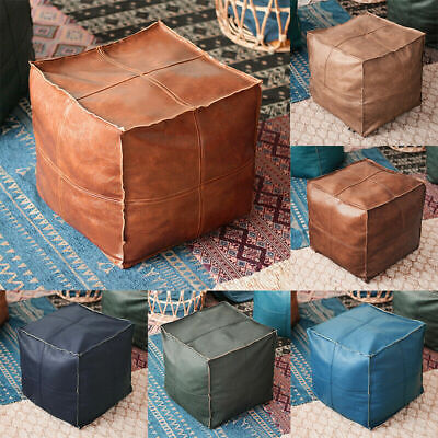 Square Moroccan Leather Footstool Cover Pouffe Pouf Handmade Ottoman Unstuffed • 26.99£