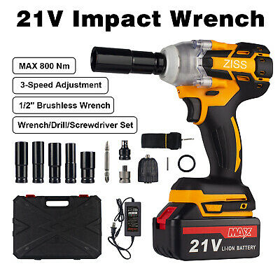 View Details 4-IN-1 21V Electric Cordless Impact Wrench Max 800Nm 1/2'' Drive Drill + Battery • 89.48$