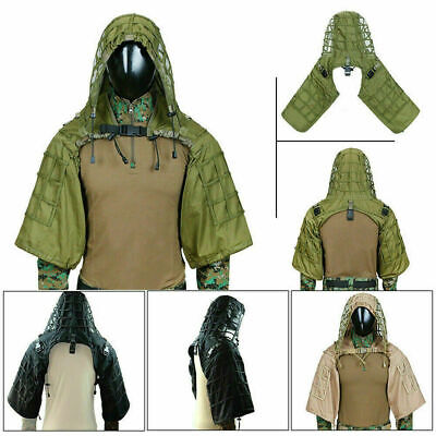Tactical Sniper Ghillie Base Airsoft Hunting Ghillie Suit Hooded Camouflage • 34.23£