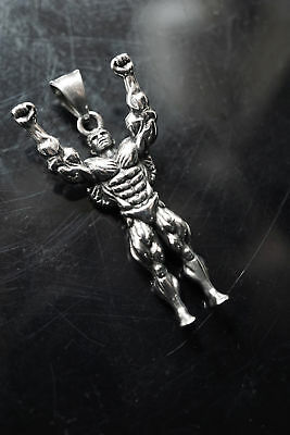 $26.99 • Buy Muscle Men Health Body Builder Weight Training Fitness Pendant Necklace Keychain
