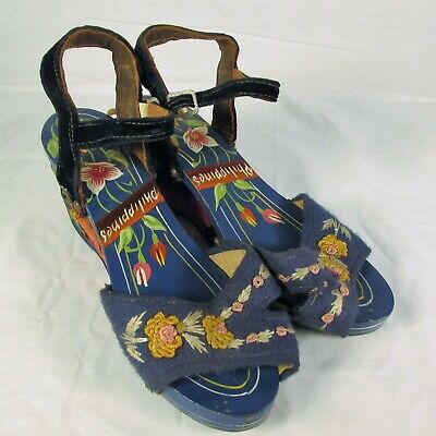 AU77.22 • Buy VINTAGE 40's CARVED WOODEN & EMBROIDERED WEDGE HEELS SHOES SANDALS PHILIPPINES