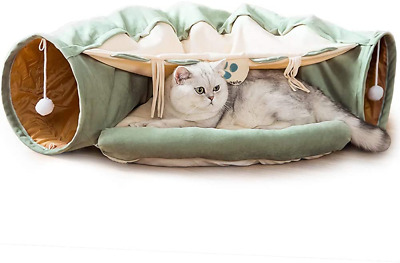 Cat Tunnel Bed With Cushion Mat, Cat Tunnel Toy Play Center With Collapsible And • 48.38£