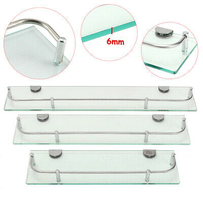 £9.95 • Buy Clear Glass Wall Mounted Shelve Shelf Rack Kitchen Home Office Bathroom Bookcase