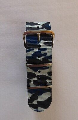£2.99 • Buy Sale - Blue Camo - Nato/g10/mod Military Style Nylon Watch Strap - 16mm To 24mm