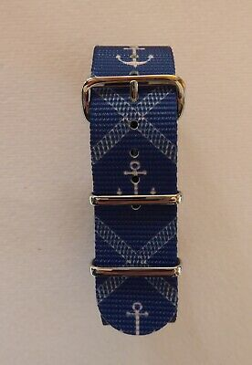 £7.99 • Buy Anchor Print Blue Nato Military Style Watch Strap 18mm - 22mm