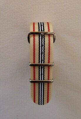 £7.99 • Buy Striped Nato Military Style Watch Strap - Beige/red/black/white 20mm - 22mm