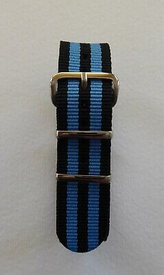 £5.99 • Buy Two Stripes Nato Military Style Watch Strap - Black / Blue 18mm - 22mm