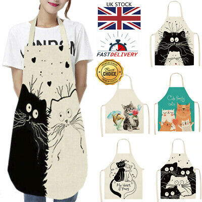 £3.99 • Buy Apron Cat Funy Gift Linen Cotton Novelty Cooking Baking Kitchen Unisex Household