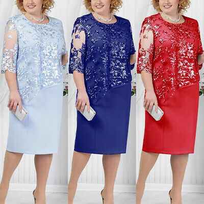 AU26.39 • Buy Plus Size Women Loose Lace Midi Dress Formal Evening Cocktail Formal Prom Party