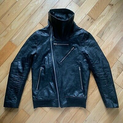 BytheR Leatherette Leather Jacket Owens Funnel Neck - Fits Size 36-38 Damaged • 140£