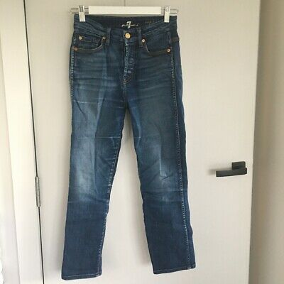 AU5 • Buy 7 For All Mankind Cropped High Waisted Straight Leg Jeans, Size 25