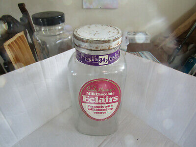 £18 • Buy Vintage Cadbury's Eclairs Sweet Shop Glass Jar Metal Lid !!
