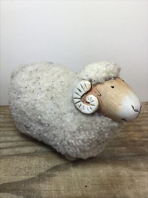£35 • Buy Vintage Scandinavian Ceramic Sheep Ram With Wool Coat Collectable Ornament