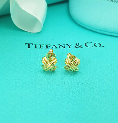 £847.99 • Buy Tiffany & Co. Very RARE 18Ct 18K Yellow Gold Signature X Kiss Crossover Earrings