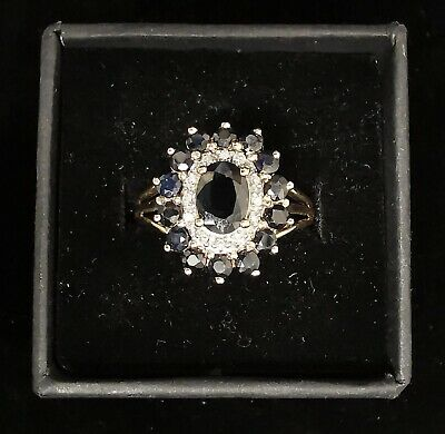 £130 • Buy 9ct Gold Sapphire And Diamond Cluster Ring