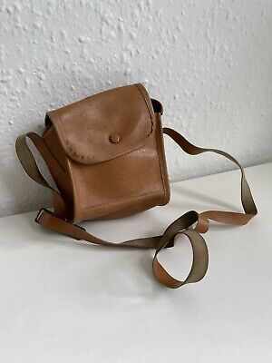 Small Camel Leather Camera Bag With Strap • 10£