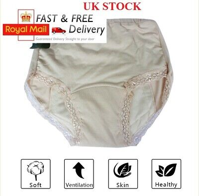 £7.99 • Buy UK Women Ladies Cotton INCONTINENCE Pants WASHABLE WITH PAD Briefs Knickers
