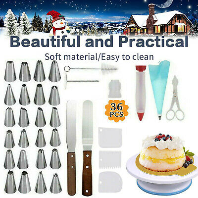 £12.36 • Buy 36PCS Cake Decorating Turntable Set Tools Practical Stainless Stand Nozzles Kit~