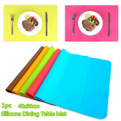 £4.56 • Buy UK Silicone Dining Table Mat Rectangle Waterproof Non Slip Heat Insulation Mat