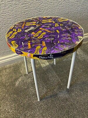 Upcycled Round Recycled Cadbury Chocolate Wrapper Side Table/Occasional Table. • 30£
